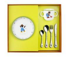 Guy Degrenne coffret assiette creuse/mug/4 couverts Petit Ours Brun - vaisselle