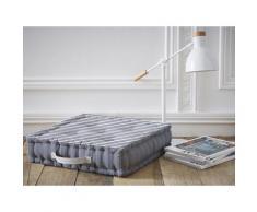 Coussin de sol 5 capitons 100% coton rayure marine blanc/bleu 40x40x10cm LINY - Textile séjour