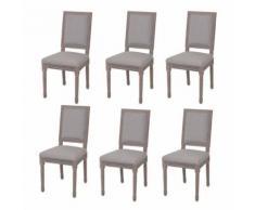 Meelady- Chaise de salle à manger housse de chaise 6 pcs Lin 47 x 58 x 98 cm Gris clai - Chaise