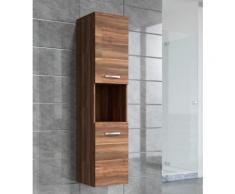 Armoire de rangement de Montreal Hauteur : 131 cm Noyer brillant - Meuble de rangement haut placard meuble de salle de bain - Installations salles de bain