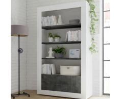 Bibliothèque moderne blanc effet béton gris foncé URBAN 6 - L 110 x P 42 x H 144 cm - Vaisseliers