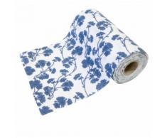 Chemin de table en toile motif Fleurs Bleu - 15 cm x 5 m - Objet à poser