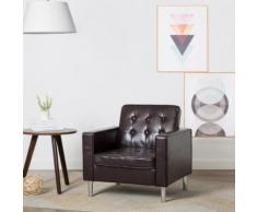 Meelady Fauteuil Revêtement de Simili-cuir pour Salon, Bureau ou Chambre à Coucher 75 x 70 x 75 cm Marron - Chaise