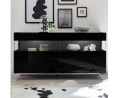 Enfilade LED 4 portes design noir laqué CASTELLI 6 - L 184 x P 50 x H 101 cm - Buffets