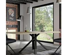 Table à manger industrielle couleur bois et métal noir KARA - L 200 x P 100 x H 74 cm - Tables salle à manger