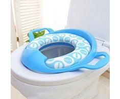 Cuvette pour sièges de toilettes en plastic pour enfants de couleur bleu avec deux tapis - Accessoires salles de bain et WC
