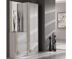 Vestiaire d'entrée blanc et couleur bois clair moderne RIMAC 2 - L 120 x P 31,6 x H 197 cm - Vestiaires