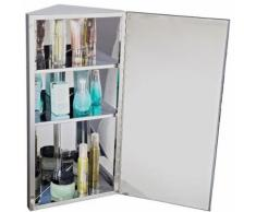 Armoire miroir salle de bain mural d'angle métal - Meubles de salle de bain