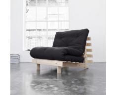 Pack matelas futon gris anthracite coton structure en bois naturel 140x200 - Terre de Nuit - Ensembles matelas et sommier