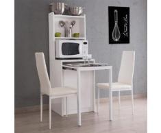 Buffet en bois avec table à manger à rallonges L155cm KIWI blanc - Tables salle à manger