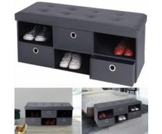 Banc coffre 3 tiroirs gris 100x38x38 cm PVC pliable - Accessoires salles de bain et WC