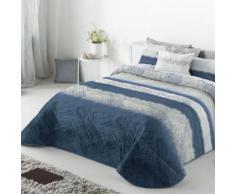 Couvre-Lit 235X270cm Tissé Jacquard Aranda Azul+2 Taies 40X60cm Pour Lit De 140X190cm 100pourcentcoton - Linge de lit