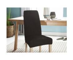 Housse de chaise bi-extensible unie effet gauffré noir MARINE - Textile séjour