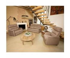 Salon complet Relaxation électrique Marron cendré - SOFTY - Tables salle à manger