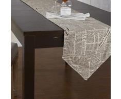 Chemin de table de style journal beige 33 x 200 cm - linge de table et décoration