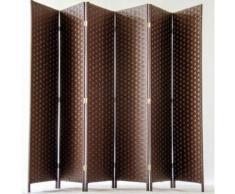 Paravent de 6 pans tressé en fibres naturelles coloris brun foncé - Dim : H180 x L270 cm - PEGANE - - Objet à poser