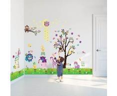Walplus pack combo sticker mural df5099 joyeux animaux plus ws3026 hibou/arbre/étoile plus ay763 petit poussin/herbe, multicolore - Accessoires de rangement