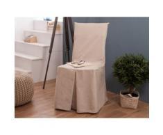 Housse de chaise bachette 100% coton beige INES - Textile séjour