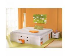 Lit double 160x200 rangements tiroirs sommiers chevets moderne bois massif BLANC - Cadre de lit