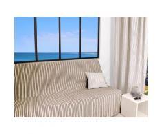 Jeté de canapé 170x250 cm COTONADE taupe - Textile séjour