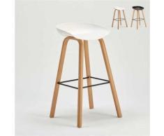 Tabouret chaise haut pour café et cuisine effet bois TOWERWOOD, Couleur: Blanc - Tabourets