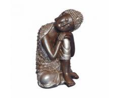 Statuette Bouddha - H. 28 cm - Argent - Objet à poser