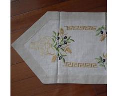 Chemin de table traditionnel à motif floral en lin beige - linge de table et décoration