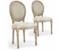 Lot De 2 Chaises Design Kajol De Style Médaillon Tissu Beige - Chaise