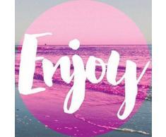 Tableau Déco Toile Imprimée Beach Enjoy Pink - 30x30cm - Décoration murale