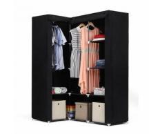 Armoire dAngle Penderie dressing en textile non-tissé 129 x 87 x 169 cm noir - Armoire