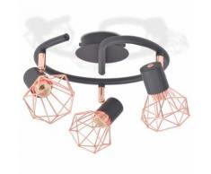 vidaXL Plafonnier avec 3 Projecteurs E14 Noir et Cuivre Lampe de Plafond - Bougeoir, bougie et senteur
