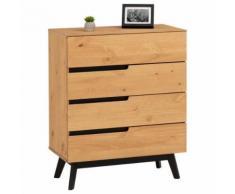 Commode TIBOR style scandinave design vintage nordique avec 4 tiroirs, en pin massif finition bois naturel teinté - Commodes