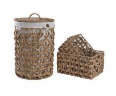 Panier à linge avec 2 corbeilles en jacinthe -PEGANE- - Accessoires de bain