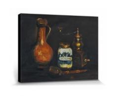 Vincent Van Gogh Poster Reproduction Sur Toile, Tendue Sur Châssis - Nature Morte Avec Pot De Barbier, Moulin À Café Et Pipe, 1884 (30x40 cm) - Décoration murale