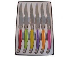 Laguiole i7209p6-nt boîte de 6 couteaux de table 6 couleurs pastel - Ustensiles