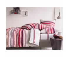 Taie d'oreiller 100% coton imprimé rayures bayadère volant plat NUIT GRAPHIQUE 50x70cm rose, violet - Linge de lit