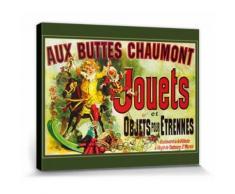 Vintage Poster Reproduction Sur Toile, Tendue Sur Châssis - Aux Buttes Chaumont, Jouets Et Objets Pour Étrennes, Jules Cheret, 1885 (40x50 cm) - Décoration murale