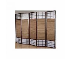 Paravent 5 panneaux marron en bois et bambou 220x175 cm PAR06011 - Objet à poser