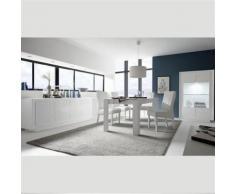 Nouvomeuble - Salle à manger blanc laqué design et motifs erine 3 - Tables salle à manger
