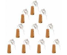 10pcs Décoration De Fête Lampe Bouteille de Vin Bouchon Fil de Cuivre Veilleuse Étoilée pour Mariage Noël LD960 - Objet à poser