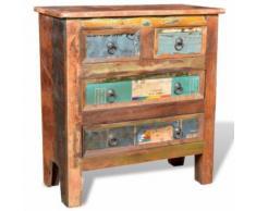vidaXL Armoire à 4 tiroirs en bois recyclé - Armoire