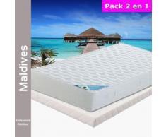 Maldives - Pack Matelas + Tapissier 130x190 - Ensembles matelas et sommier