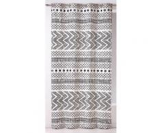Rideau à oeillets tamisant coton rayure ethnique géométrique noir/blanc 140x260cm ETNIKAL - Rideaux et stores