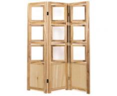 Paravent en bois nature de 3 pans, H161 x L93 x P2 cm -PEGANE- - Objet à poser