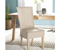 Housse de chaise unie courte 100% coton bachette épaisse beige ISA - Textile séjour