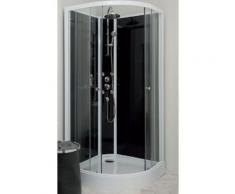 Aqua+ - cabine de douche 1/4 de cercle accès d'angle transparent portes coulissantes 80cm hydromassante sans silicone - gena - Installations salles de bain