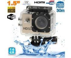Caméra sport WiFi embarquée plongée caisson 12MP HD 1080P Or 16 Go - Caméscope à carte mémoire