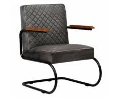 Meelady Fauteuil Cuir Véritable en Style Classe Moderne pour Salon/Bureau Gris 63 x 75 x 88 cm - Chaise