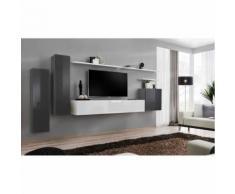 Meuble TV mural SWITCH I design, coloris gris et blanc brillant. - Meubles TV