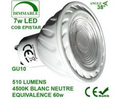 SPOT LED 7W COB Dimmable GU10 Blanc Neutre - Appliques et spots